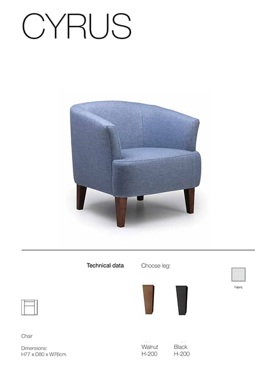 cyrus armchair specification sheet