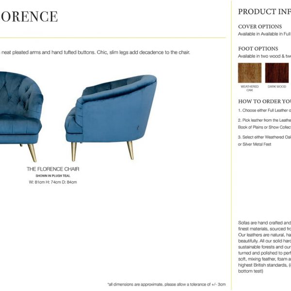 Florence Armchair specification sheet