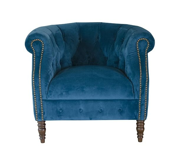 Jude Chair in plush blue fabric