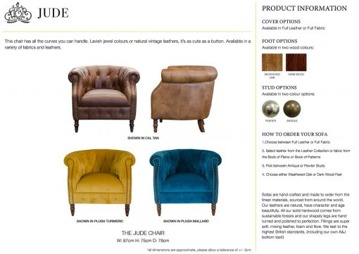 Jude Chair specification sheet