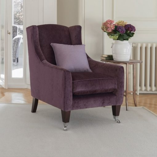 Parker Knoll Mitford chair in purple vialli fabric