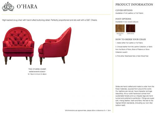 O'Hara Chair specification sheet