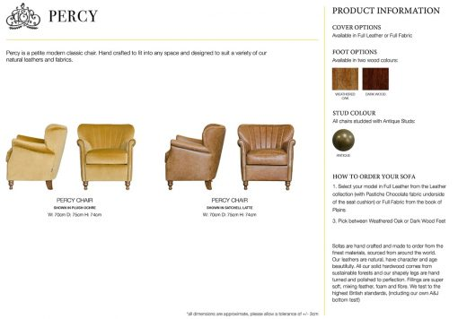 Percy chair specification sheet