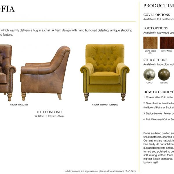 sofia chair specification sheet