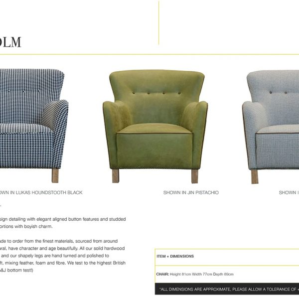 stockholm chair specification sheet