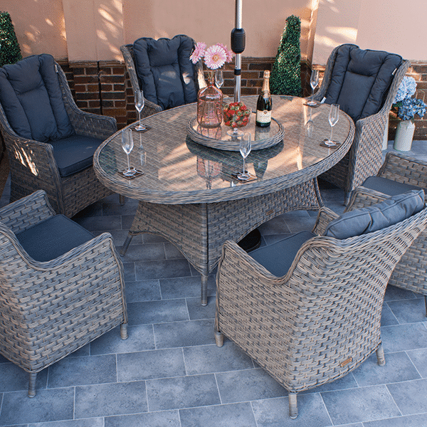 Crete 180cm Oval Table & 6 chairs